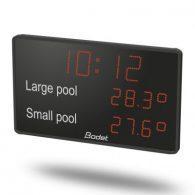 Uhrzeit- und Temperaturanzeige für Schwimmbäder