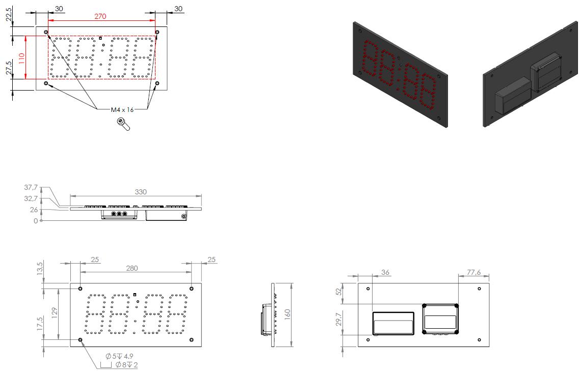 Abmessungen LED-Netzwerk-Uhrenmodul ZH410-L