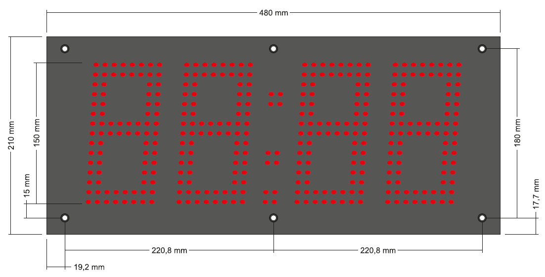 Abmessungen LED-Netzwerk-Uhrenmodul ZH415-L