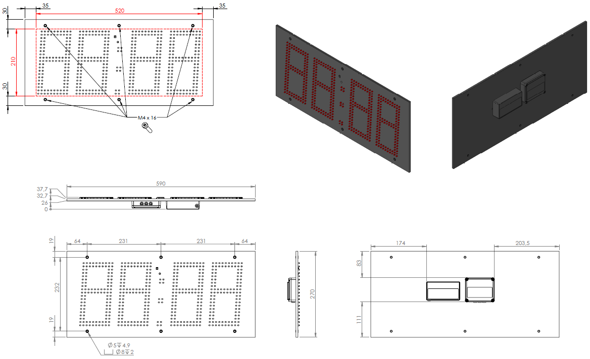 Abmessungen LED-Netzwerk-Uhrenmodul ZH420-L